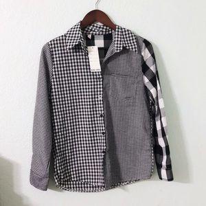 Tops - Mixed Print Gingham Shirt
